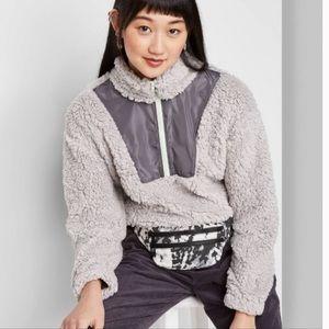 Gray Long Sleeve Pullover Zip Sherpa Jacket